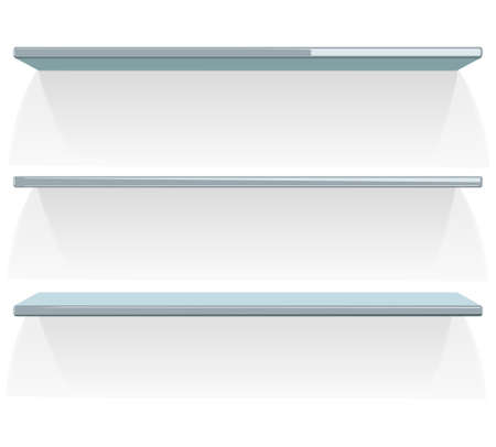 three shelves: Three empty shelves on white. Vector illustration.