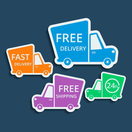 fast delivery: Free delivery, fast delivery, free shipping colorful icons set with blend shadows. Vector.