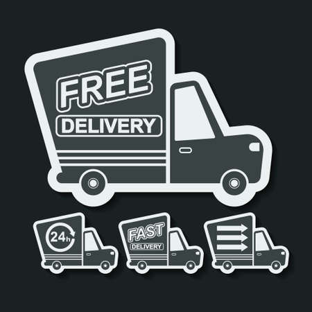 Free delivery, fast delivery colorful icons set with blend shadows. Vector. Vector