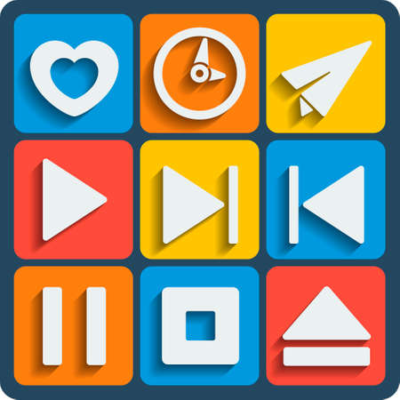 love pic: Set of 9 interface vector web and mobile icons in flat design. Illustration