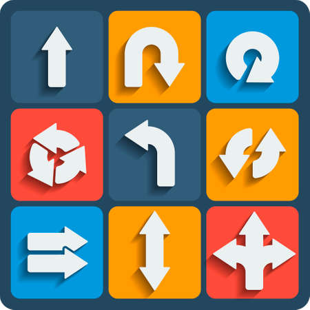 hither: Set of 9 arrows vector web and mobile icons in flat design.