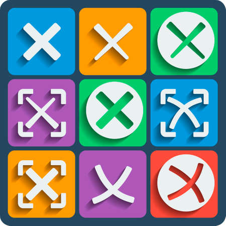 dissension: Set of 9 check marks vector web and mobile icons in flat design. Ticks in boxes conceptual of denial disagreement negative passed voting dissension false or completion of tasks on a list Illustration