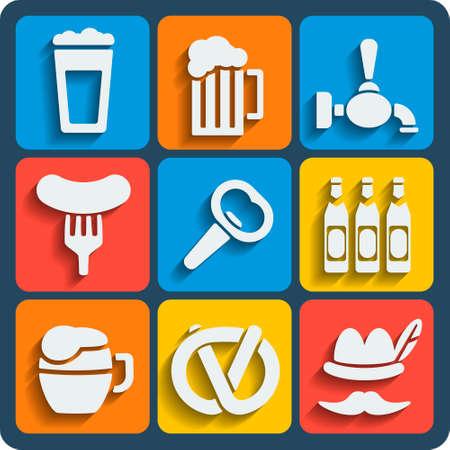 stein: Set di 9 birra vettore web e le icone mobili in design piatto. Vettoriali