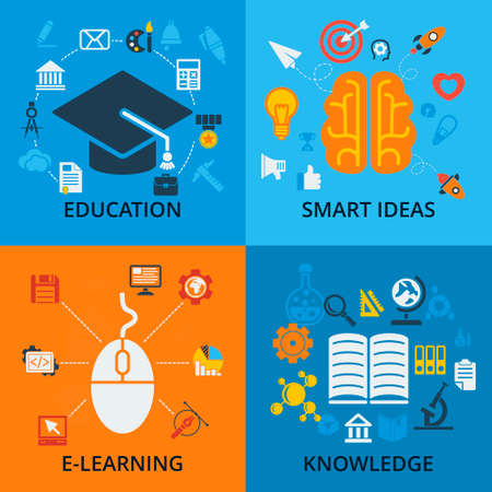 learning: Set of 4 vector concept icons for education. Icons for education, smart ideas, e-learning and knowledge