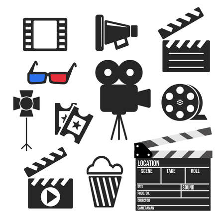 Set of cinema filmmaking and video production vector web and mobile logo icons iisolated on white. Symbols of loudspeaker, clapboard, camera, 3d glasses, reel, ticket, popcorn.