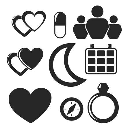 love pic: Set of interface universal web and mobile vector logo icons isolated on white. Symbols of hearts, pill, people, jewellery, compass, moon, calendar Illustration