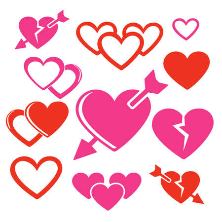 love pic: Set of hearts web and mobile logo icons isolated on white. Hearts and arrows vector symbols