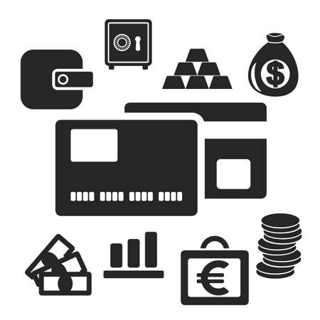 debt collection: Set of interface business and money web and mobile logo icons isolated on white. Vector symbols. Illustration