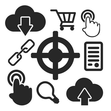 Set of interface universal web and mobile logo icons isolated on white. Vector symbols.