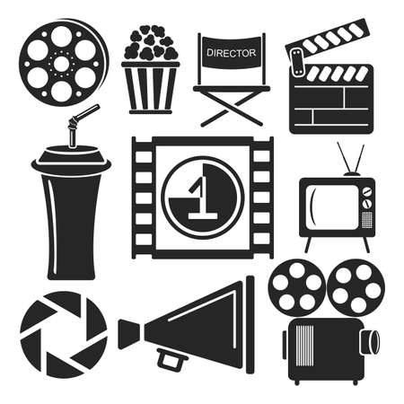 Set of universal cinema and movies web and mobile logo icons isolated on white. Vector symbols of loudspeaker, clapboard, camera, reel, popcorn, frame. Vector