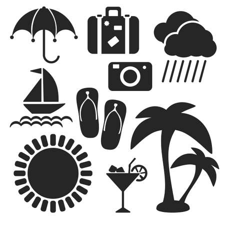 Set of summer and travel universal web and mobile logo icons isolated on white. Vector symbols of suitcase, sun, umbrella, cloud, rain, camera, palms, slippers, yacht, cocktail