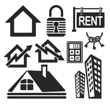 pictogramm: Set of interface real estate web and mobile logo icons isolated on white