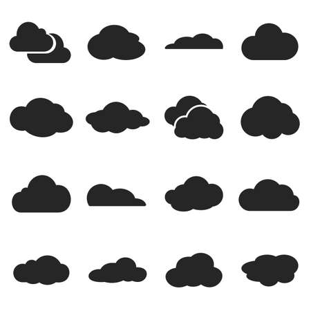 Cloud shapes vector set, cloud logo icons for cloud computing for web and app