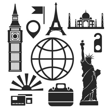 Travel web and mobile logo icons isolated on white. Vector symbols of world wonders and sights