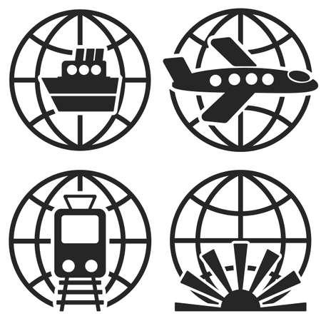 airbus: Ship Plane Train and Globe Sign. Vector logo templates. Design elements. Illustration