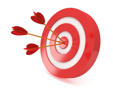 sharpshooter: Three arrows in red aim target. Goal, luck, strategy, game, business concept.