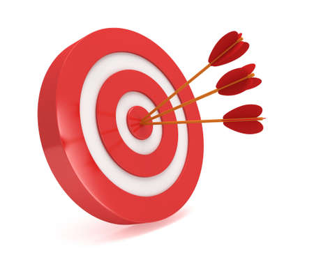 Three arrows in red aim target. Goal, luck, strategy, game, business concept.
