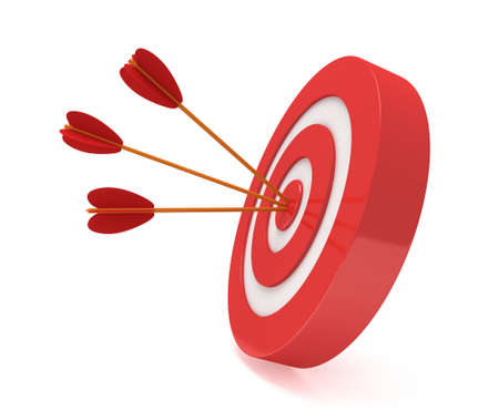 Drei Pfeile in rot Ziel Ziel. Ziel, Glück, Strategie, Spiel, Business-Konzept.