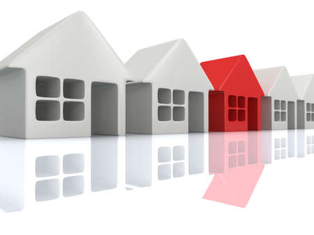 row houses: Real estate, rent, building, home, out of crowd concept. Row of white blank houses with red one. 3d render icon.
