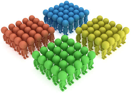 large formation: A large groups of people stand on white in box formation. Isolated 3d render. Teamwork, business, army concept. Stock Photo
