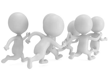 Menge von Menschen zu laufen. 3D-Render isoliert auf weiß. Chase, Fitness, Sport-Konzept.
