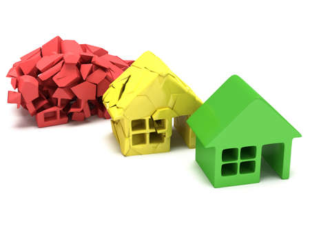 home destruction: Colored houses in varying phases of destruction. Real estate, rent, building, home, mortgage, money concept. 3d render icon. Stock Photo