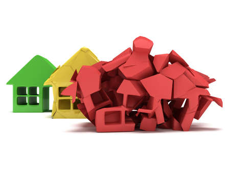 varying: Colored houses in varying phases of destruction. Real estate, rent, building, home, mortgage, money concept. 3d render icon. Stock Photo
