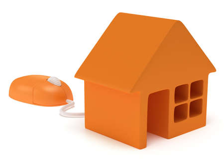 Computer mouse with house isolated on white. 3D render. Cursor, internet, real estate concept. photo