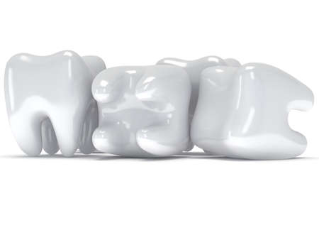 Teeth isolated on white background. 3D render. Dental, medicine, health concept.
