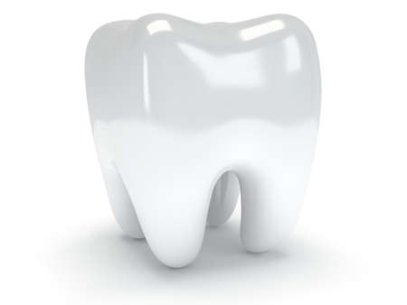 Tooth isolated on white background. 3D render. Dental, medicine, health concept. photo