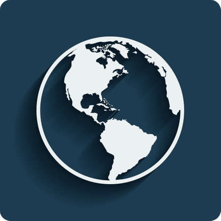 Earth planet globe web and mobile icon in flat design with long shadow. Vector. Ilustração