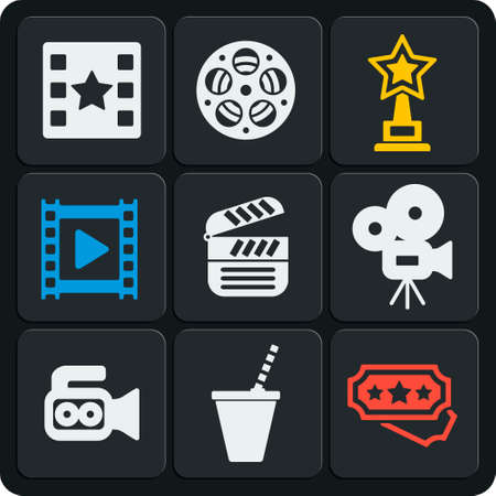 Set of 9 cinema vector web and mobile icons in flat design. Camera, clapper, reel, frame, award, star, drink, play, premiere tickets