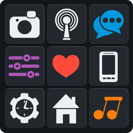 love pic: Set of 9 interface vector web and mobile icons in flat design. Home, heart, like, wifi, photo, phone, clock, music.