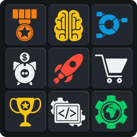 managment: Set of 9 seo vector web and mobile icons in flat design. Idea, managment, sales, start up, development, profit. Illustration