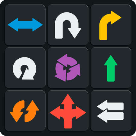 indexes: Set of 9 arrows vector web and mobile icons in flat design.