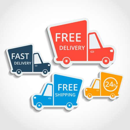 Gratis levering, snelle levering, gratis verzending kleurrijke pictogrammen instellen met blend schaduwen. Vector.