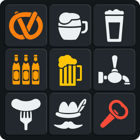 stein: Set of 9 beer vector web and mobile icons in flat design. Autumn, octoberfest, pub, bar, drink and food. Illustration