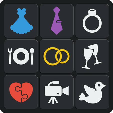 Set of 9 wedding vector web and mobile icons in flat design. Rings, groom, bribe, camera, marriage, dove, bird