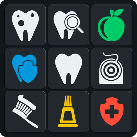 lens brush: Set of 9 vector dental web and mobile icons Illustration