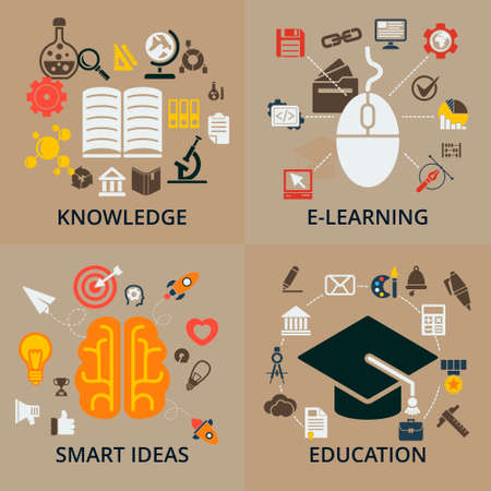 Education icon: Set of 4 vector concept icons for education. Icons for education, smart ideas, e-learning and knowledge