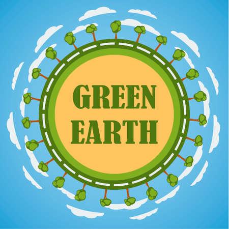 reforestaci�n: Concepto planeta Tierra Verde. Dise�o de la plantilla.