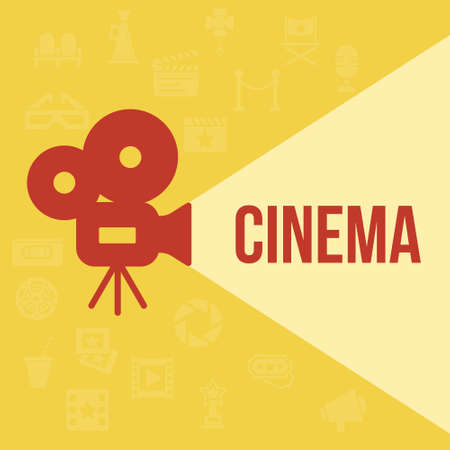 old movie: Cinema retro projector highlights word cinema. Template vector concept.