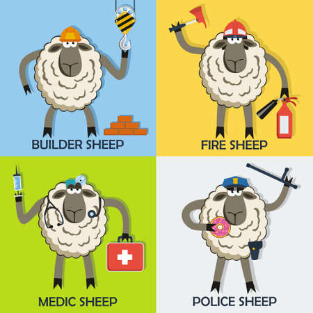 sergeant: Sheep professional character vector set with doctor, fireman, police sergeant and construction worker
