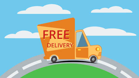 Free delivery van goes on the road with clouds.Template vector concept.