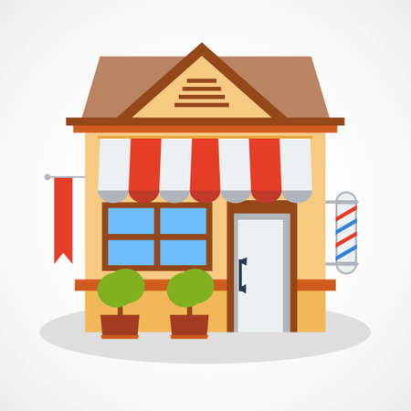 an awning: Shop icon with red and white striped awning. Vector illustration. Illustration