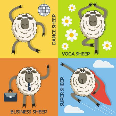 ovejas: Ovejas danza, yoga ovejas, ovejas de negocios y s�per ovejas coloridas conceptos de dibujos animados lindo. Vector.