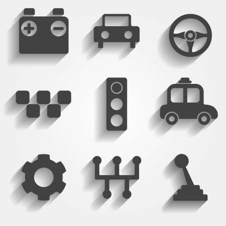 gearbox: Set of 9 cars vector web and mobile icons in flat design. Symbols of gear, gearbox, traffic light, steering wheel, cars, battery, stick shift.