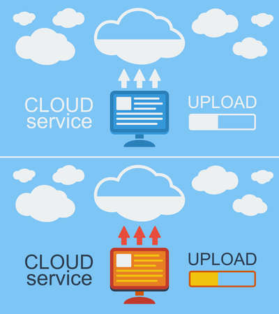 remote backup service: Cloud service concept on blue  background. Vector illustration. Data from computer loaded into the cloud.