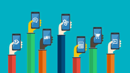 Smartphones in hands. Mobile apps concept. Vector in flat design. Symbols of earth, credit card , chat bubble, gears, video, shopping cart, calculator