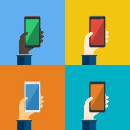 Four smartphones in hands. Mobile apps concept. Vector in flat design.